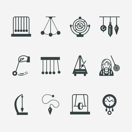 metronome: Vector flat line icon of pendulum types. Newton cradle, metronome, table pendulum, perpetuum mobile, gyroscope. Linear pictogram editable stroke for site, brochure of hypnosis, hypnotherapy.
