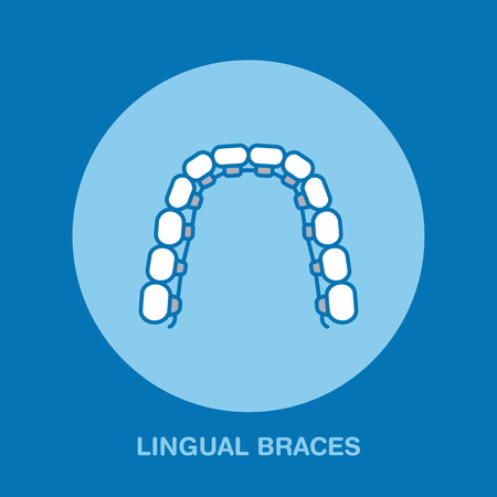 lingual: Dentist, orthodontics line icon of lingual braces, teeth alignment. Dental care equipment sign, medical elements. Health care thin linear symbol for dentistry clinic.
