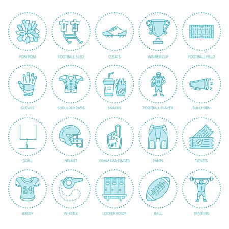Vector line icons of american football game. Illustration