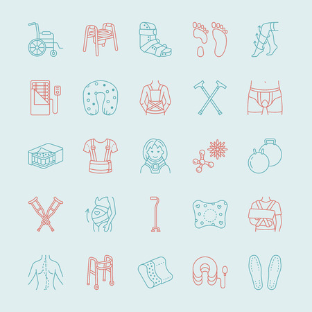 belly bandage: Orthopedic, trauma rehabilitation line icons.