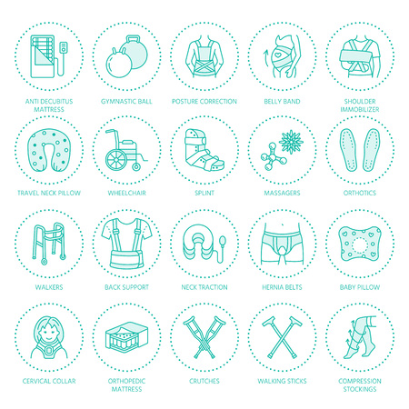 posture correction: Orthopedic, trauma rehabilitation line icons. Crutches, orthopedics mattress pillow, cervical collar, walkers and other medical rehab goods. Health care thin linear signs for clinic and hospital.