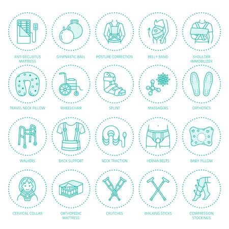 rehabilitación, trauma iconos de líneas ortopédicos. Muletas, almohada colchón de ortopedia, cuello del útero, andadores y otros bienes de rehabilitación médica. cuidado de la salud signos lineales finas para la clínica y el hospital. Ilustración de vector