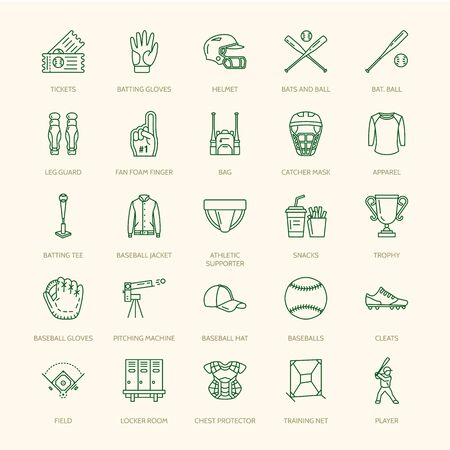 Baseball, softball sport game line icons. Ball, bat, field, helmet, pitching machine, catcher mask. Linear signs set, championship pictograms with editable stroke for event, equipment store.