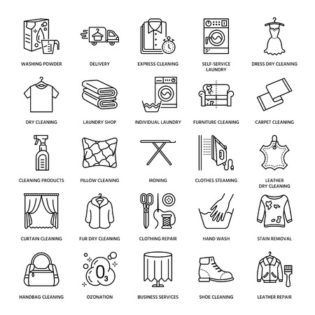 Dry cleaning, laundry line icons. Launderette service equipment, washing machine, clothing shoe and leaher repair, garment ironing and steaming. Washing thin linear signs for self-service laundry. Illustration