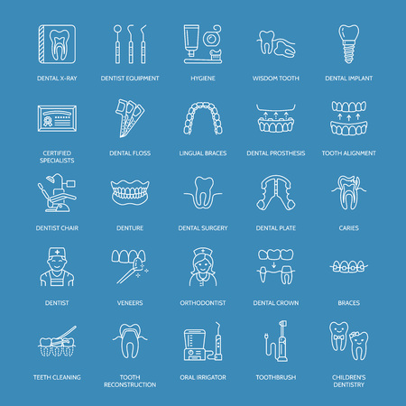 lingual: Dentist, orthodontics line icons. Dental care equipment, braces, tooth prosthesis, veneers, floss, caries treatment and other medical elements. Health care thin linear signs for dentistry clinic.