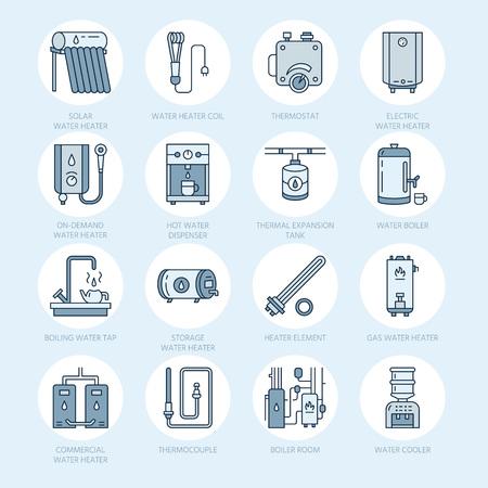 Boiler, boiler, elektrisch, gas, zonneboilers en andere huis verwarmingstoestellen lijn iconen. Dunne lineaire pictogram met bewerkbare slagen voor ijzerhandel. Huishoudelijke apparaten borden.