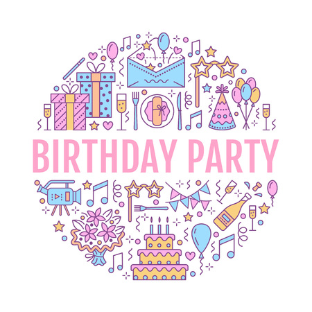Event agency, birthday party with line icon of catering, birthday cake, balloon decoration, flower delivery, invitation card, magician. Thin linear sign of party organization service.