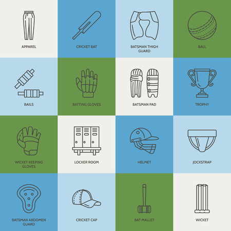 bails: line icons of cricket sport game. Ball, bat, wicket, helmet, batsman gloves. Linear signs set, championship pictograms with editable stroke for event, equipment store. Illustration