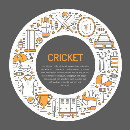 bails: Cricket with line icons of ball, bat, field, wicket, helmet, apparel and other equipment. circle illustration for sport championship poster.
