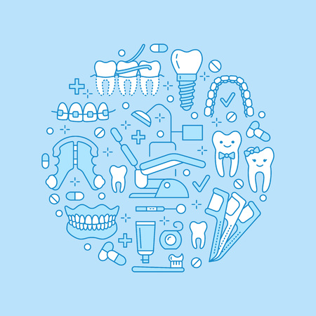 Dentist, orthodontics medical with line icon of dental care equipment, braces, tooth prosthesis, veneers, floss, caries treatment. Health care thin linear poster for dentistry clinic.