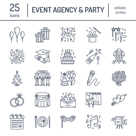 Event agency, wedding organization line icon. Party service - catering, birthday cake, balloon decoration, flower delivery, invitation, clown. Thin linear sign of corporate party, team building