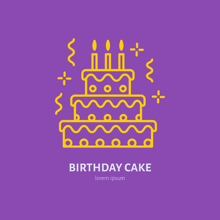 Birthday cake line icon.  for bakery, party service. Tasty torte thin linear symbol for event agency. Linear illustration of dessert.