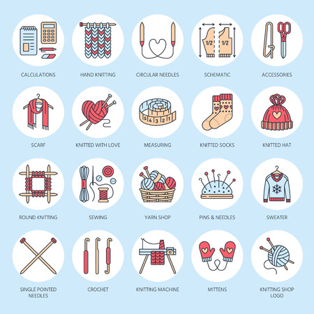 Knitting, crochet, hand made line icons set. Knitting needle, hook, scarf, socks, pattern, wool skeins and other DIY equipment. Linear signs set, with editable stroke for yarn or tailor store. Illustration