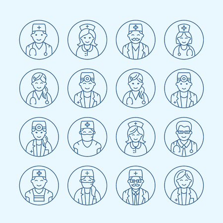 Cute vector line icon of doctor. Hospital clinic linear logo. Outline medical sign - surgeon, cardiologist, dentist, therapist, physician, nurse. Design element site, health business logotype.