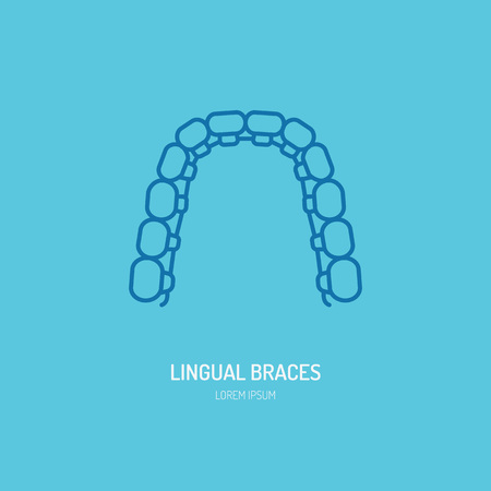 Dentist, orthodontics line icon of lingual braces, teeth alignment. Dental care equipment sign, medical elements. Health care thin linear symbol for dentistry clinic.
