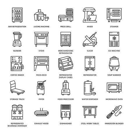 Restaurant professional equipment line icons. Kitchen tools, mixer, blender, fryer, food processor, refrigerator, steamer, microwave oven. Thin linear signs for commercial cooking equipment store.  イラスト・ベクター素材