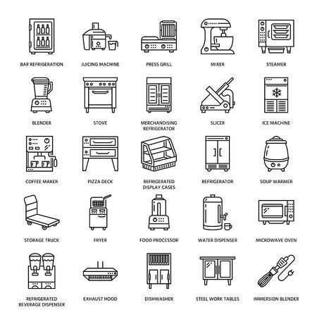 Ikony linii profesjonalnego wyposażenia restauracji. Narzędzia kuchenne, mikser, blender, frytkownica, robot kuchenny, lodówka, parowar, kuchenka mikrofalowa. Cienkie znaki liniowe do komercyjnego sklepu ze sprzętem do gotowania. Ilustracje wektorowe