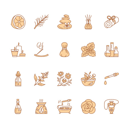 Essential oils aromatherapy vector line icons set. Elements - aroma therapy diffuser, oil burner, candles. 免版税图像 - 73653915