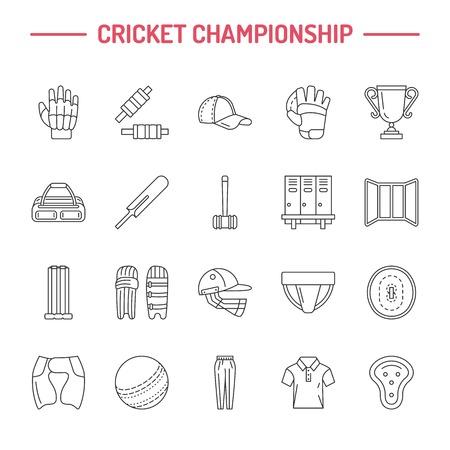 bails: Vector line icons of cricket sport game. Ball, bat, wicket, helmet, batsman gloves.