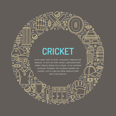bails: Cricket banner with line icons of ball, bat, field, wicket, helmet, apparel.