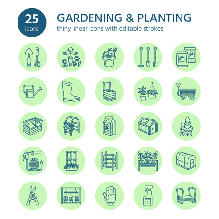 Gardening, planting and horticulture line icons. Garden equipment, organic seeds.
