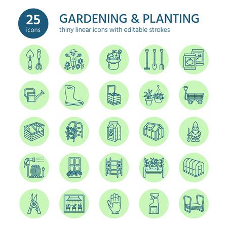 Tuinbouw, planten en tuinbouw lijn iconen. Tuinuitrusting, organische zaden. Stock Illustratie