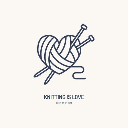 Logotipo de línea de tienda de tejer. Signo plano de tienda de hilados, ilustración de madejas de lana con agujas de tejer. Logos