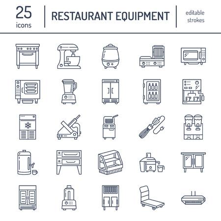 Restaurant professionele apparatuur lijn pictogrammen. Keukengereedschap, mixer, blender, friteuse, voedsel.