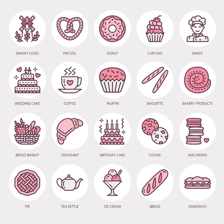 confection: Bakery, confectionery line icons. Sweet shop products - cake, croissant, muffin, pastry, and more.