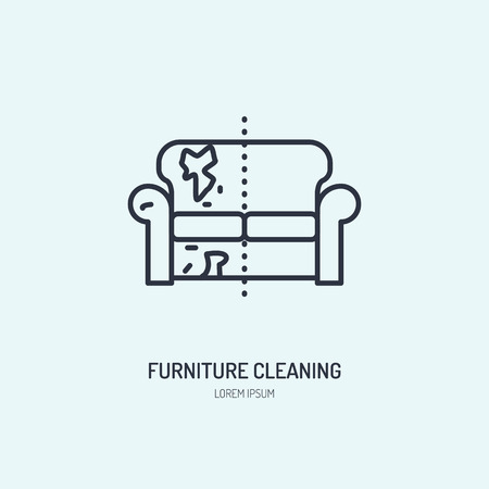 cleaning service: Sofa repair line icon, upholstered furniture dry cleaning logo. Couch flat sign, illustration of dirty home.