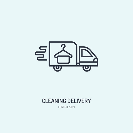 Delivery line icon, fast dry cleaning courier logo. Transportation flat sign, illustration for shipping business. Vectores