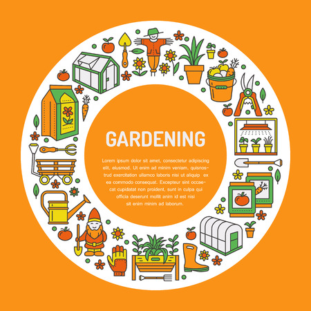 patio set: Gardening, planting and horticulture banner with vector line icon. Illustration