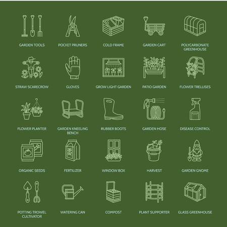 patio set: Gardening, planting and horticulture line icons. Illustration