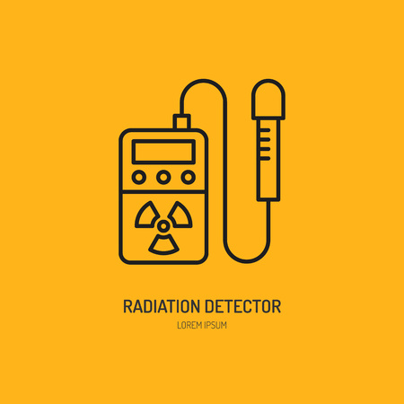 geiger: Geiger counter, radiation detector flat line icon.