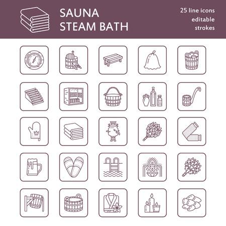 Sauna, icônes de la ligne de bain de vapeur. Salle de bains équipement bouleau, chêne bouleau, seau. Hammam, japonais, finlandais, russe, infrarouge signe sauna. Spa accessoires de relaxation peignoir, huiles essentielles signe linéaire mince
