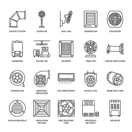 Ventilatie-uitrusting lijn pictogrammen. Airconditioning, koelapparatuur, afzuigventilator. Huishoudelijke en industriële ventilator dunne lineaire borden voor winkel.