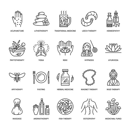 Alternative medicine line icons. Naturopathy, traditional treatment, homeopathy, osteopathy, herbal fish and leech therapy. Thin linear signs for health care center. Illustration