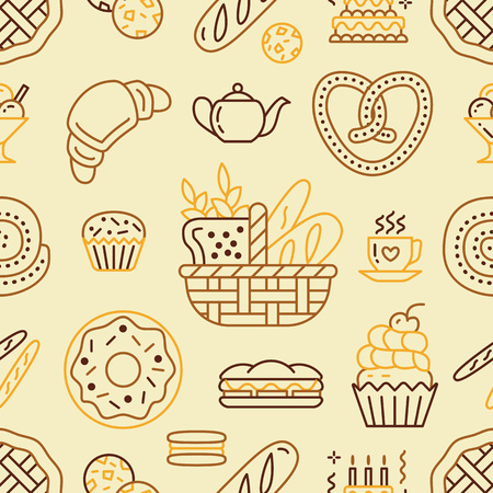 thin ice: Bakery seamless pattern, food vector background of beige, yellow color. Confectionery products thin line icons - cake, croissant, muffin, pastry, cupcake, pie. Cute repeated illustration for sweet shop.