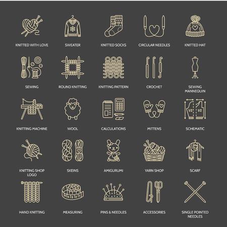 Tricot, crochet, icônes de ligne fait main réglée. Aiguille à tricoter, crochet, écharpe, chaussettes, modèle, écheveaux de laine et d'autres équipements de bricolage. signes linéaires définis, logos avec AVC modifiable pour les fils ou un magasin de tailleur.