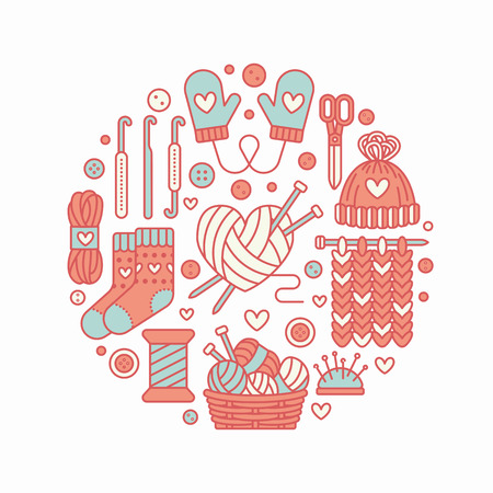 Knitting, crochet, hand made banner illustration. Vector line icon knitting needle, hook, scarf, socks, pattern, wool skeins and other DIY equipment. Yarn or tailor store template.