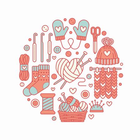 Knitting, crochet, ręcznie wykonane banner ilustracji. Ikona linii Vector igła dziewiarska, hak, szalik, skarpetki, wzór, wełna szpinerki i inne urządzenia DIY. Przędza lub szablon sklepu krawieckiego.