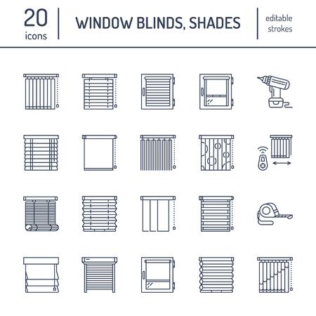 Tende per finestra, icone di linee di tonalità. Diverse decorazioni oscuranti, tapparelle, tende romane, zanzariere orizzontali e verticali. Design lineare sottili segni lineari per negozio di arredamento casa.