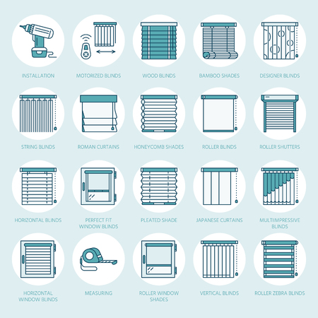 Window blinds, shades line icons. Various room darkening decoration, roller shutters, roman curtains, horizontal and vertical jalousie. Interior design thin linear colored signs for house decor shop. Illustration