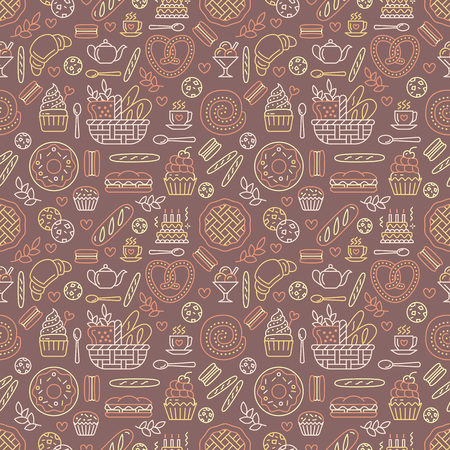 Bakery seamless pattern, food vector pattern of brown, yellow color. Confectionery products thin line icons - cake, croissant, muffin, pastry, cupcake, pie. Cute repeated illustration for sweet shop.