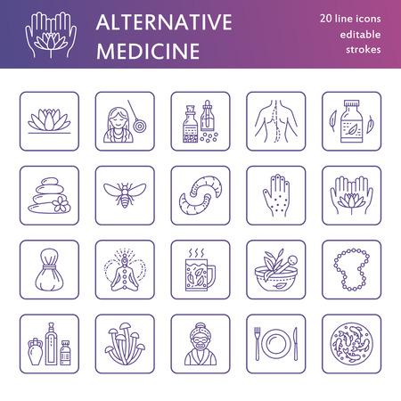 Icônes de ligne de médecine alternative. La naturopathie, le traitement traditionnel, l'homéopathie, l'ostéopathie, les herbes et la chancre. Signaux linéaires minces pour le centre de santé. Couleur violet.
