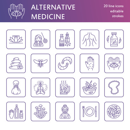 Alternative medicine line icons. Naturopathy, traditional treatment, homeopathy, osteopathy, herbal fish and leech therapy. Thin linear signs for health care center. Purple color.