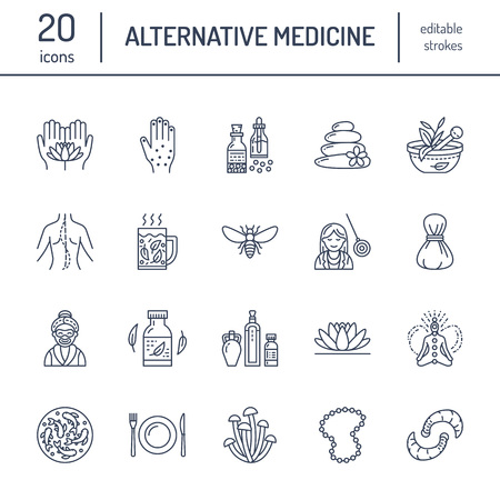Alternative medicine line icons. Naturopathy, traditional treatment, homeopathy, osteopathy, herbal fish and leech therapy. Thin linear signs for health care center. color. Иллюстрация
