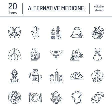 Icone della linea di medicina alternativa. Terapie naturali, trattamento tradizionale, omeopatia, osteopatia, terapia a base di pesce e sanguisuga. Sottili segni lineari per il centro di assistenza sanitaria. colore. Vettoriali