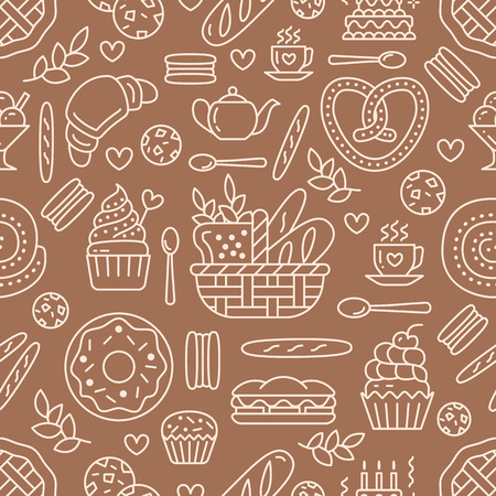 Bakery seamless pattern, food vector  pattern of brown, white color. Confectionery products thin line icons - cake, croissant muffin, pastry, cupcake, pie. Cute repeated illustration for sweet shop. 向量圖像