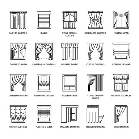 cenefas: cortinas de la ventana, las cortinas se alinean los iconos. Decoración Otros sala de oscurecimiento, lambrequines, swag, cortina francés, persianas y paneles laminados. diseño de interiores signos lineales finas para la tienda de decoración de la casa.